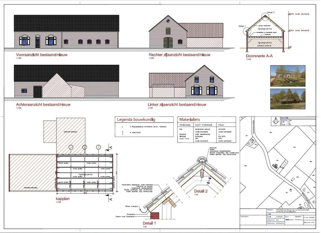 Bouwtekening woonboerderij Oploo