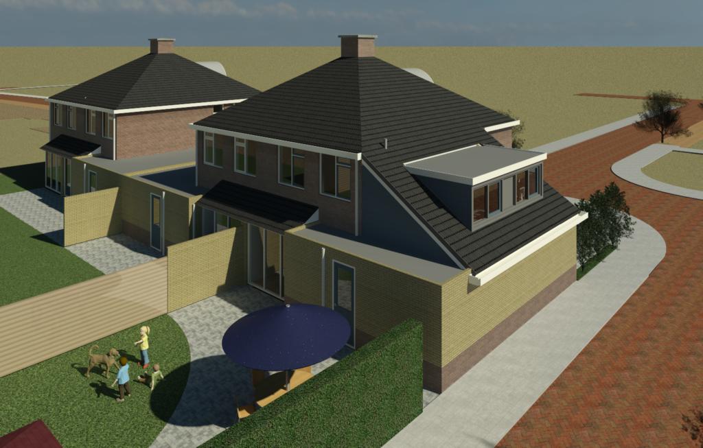 Impressie tuinzijde dakopbouw woonhuis Groesbeek